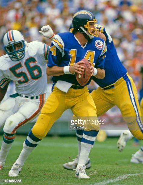 Dan Fouts Quarterback for the San Diego Chargers prepares to throw the ball during the American Football Conference Division Playoff game against the...