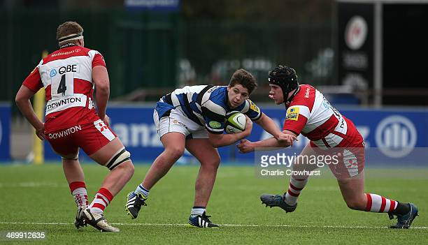 Dan Frost of Bath takes on the Gloucester defence during the The U18 Academy Finals Day match between Bath and Gloucester at Allianz Park on February...