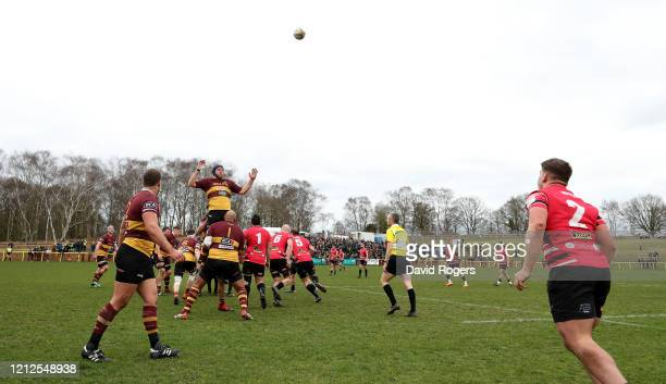 Dan Frost, the Cornish Pirates hooker throws the ball into the lineout during the Greene King IPA Championship match between Ampthill and Cornish...