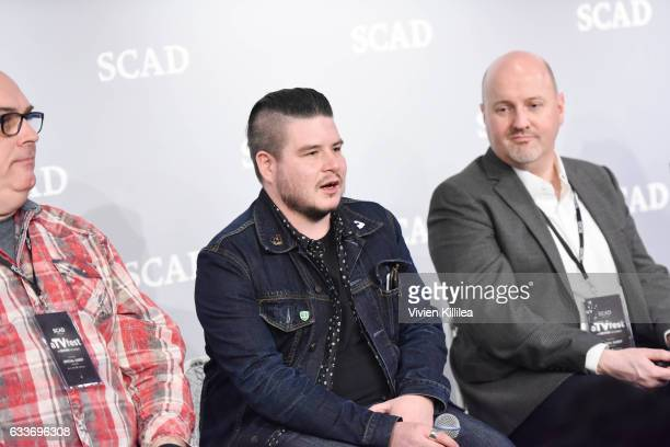 Dan Furguson Benjamin Lebovitz and Freddy James speak at The Near Future of Media panel during Day Two of the aTVfest 2017 presented by SCAD on...