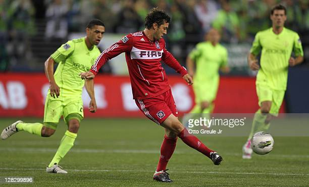 Dan Gargan of the Chicago Fire passes against the Seattle Sounders FC during the 2011 Lamar Hunt US Open Cup Final at CenturyLink Field on October 4...