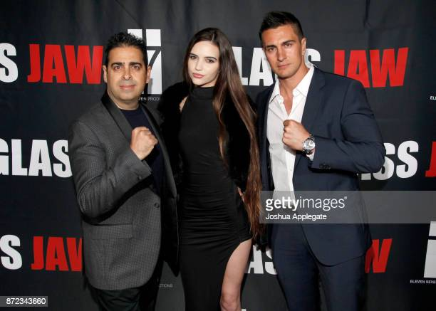 Dan Gatsby Kayla Gatsby and Lee Kholafai at the premiere of 'Glass Jaw' at Universal Studios Hollywood on November 9 2017 in Universal City California