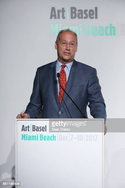 Dan Gelber Mayor of Miami Beach talks during a media conference in Miami Botanical Garden as part of Art Basel Miami Beach on December 06 2017 in...