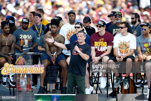 Dan Gilbert owner of the Cleveland Cavaliers gives a speech during the Cleveland Cavaliers Victory Parade And Rally on June 22 2016 in Cleveland Ohio...