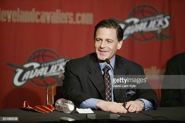 Dan Gilbert speaks during a press conference to announce the NBA has approved the purchase of the Cleveland Cavaliers by an investor group led by...