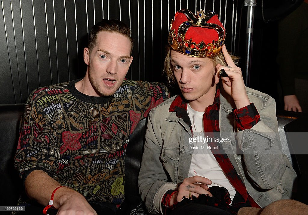 Dan Gillespie Sells and Jamie Campbell Bower attend the W London - Leicester Square & (RED) World AIDS Day Fundraising Party at Wyld on December 1, 2014 in London, England.