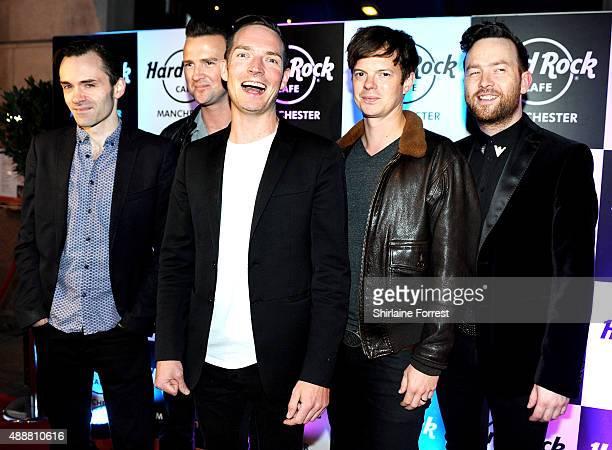 Dan Gillespie Sells Richard Jones Kevin Jeremiah Ciaran Jeremiah and Paul Stewart of The Feeling attend the 15th birthday party of Hard Rock Cafe on...