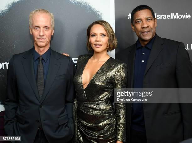 Dan Gilroy Carmen Ejogo and Denzel Washington attend the screening of Roman J Israel Esq at Henry R Luce Auditorium at Brookfield Place on November...