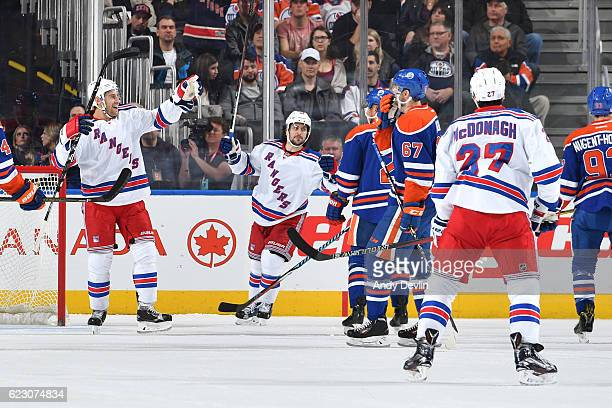 Dan Girardi and Mats Zuccarello of the New York Rangers celebrates after a goal during the game against the Edmonton Oilers on November 13 2016 at...