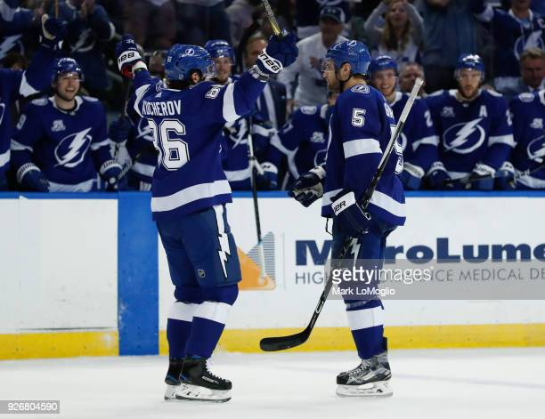 Dan Girardi and Nikita Kucherov of the Tampa Bay Lightning celebrate a goal against the Philadelphia Flyers during the second period at Amalie Arena...