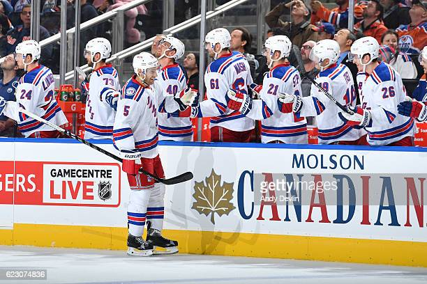 Dan Girardi of the New York Rangers celebrates after a goal during the game against the Edmonton Oilers on November 13 2016 at Rogers Place in...