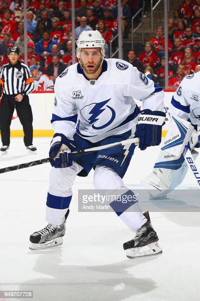 Dan Girardi of the Tampa Bay Lightning skates against the New Jersey Devils in Game Four of the Eastern Conference First Round during the 2018 NHL...