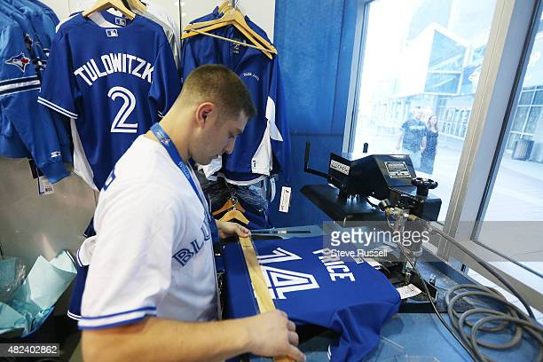 TORONTO ON JULY 30 Dan Goldberg makes David Price jerseys in the Jays Shop Not long after Toronto Blue Jays General Manager Alex Anthopoulos...