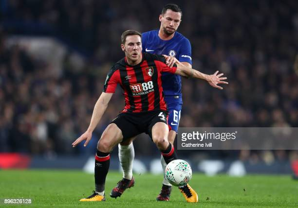 Dan Gosling of AFC Bournemouth and Danny Drinkwater of Chelsea during the Carabao Cup QuarterFinal match between Chelsea and AFC Bournemouth at...