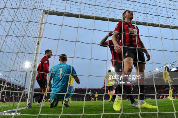 Dan Gosling of AFC Bournemouth celebrates after scoring his sides first goal during the Premier League match between AFC Bournemouth and Arsenal FC...
