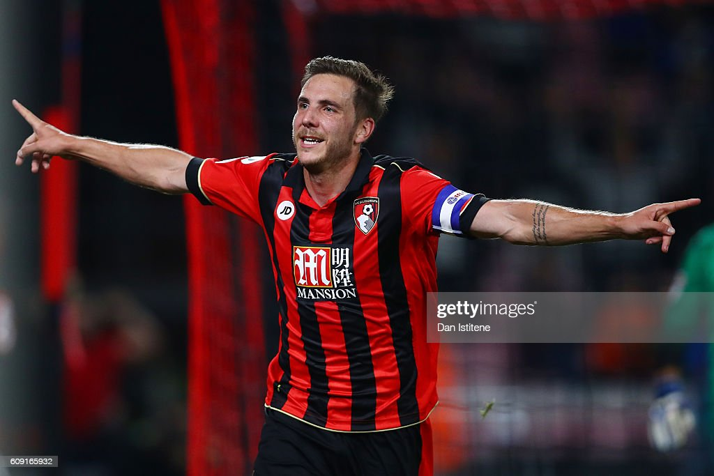 Dan Gosling of AFC Bournemouth celebrates after scoring his sides second goal during the EFL Cup Third Round match between AFC Bournemouth and Preston North End at Goldsands Stadium on September 20, 2016 in Bournemouth, England.
