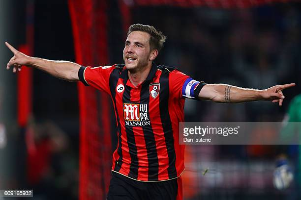 Dan Gosling of AFC Bournemouth celebrates after scoring his sides second goal during the EFL Cup Third Round match between AFC Bournemouth and...