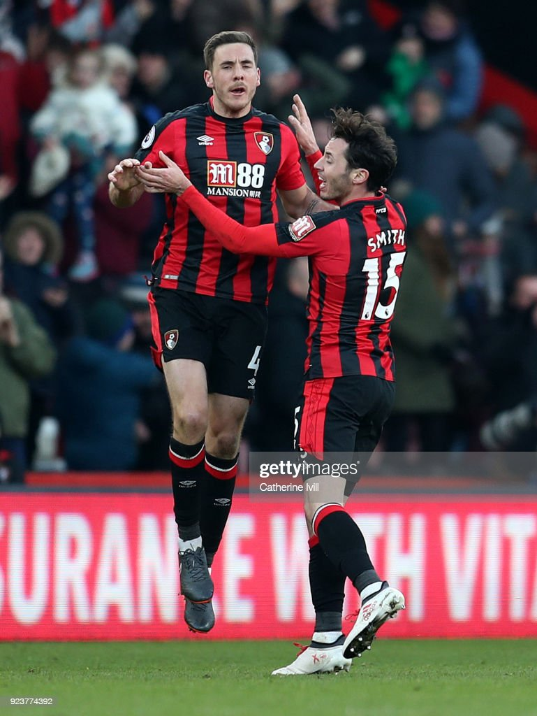 Dan Gosling of AFC Bournemouth celebrates after scoring his sides second goal with Adam Smith of AFC Bournemouth during the Premier League match between AFC Bournemouth and Newcastle United at Vitality Stadium on February 24, 2018 in Bournemouth, England.