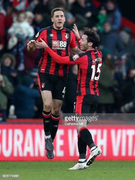 Dan Gosling of AFC Bournemouth celebrates after scoring his sides second goal with Adam Smith of AFC Bournemouth during the Premier League match...