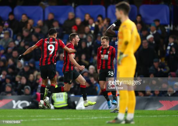 Dan Gosling of AFC Bournemouth celebrates after scoring his team's first goal during the Premier League match between Chelsea FC and AFC Bournemouth...