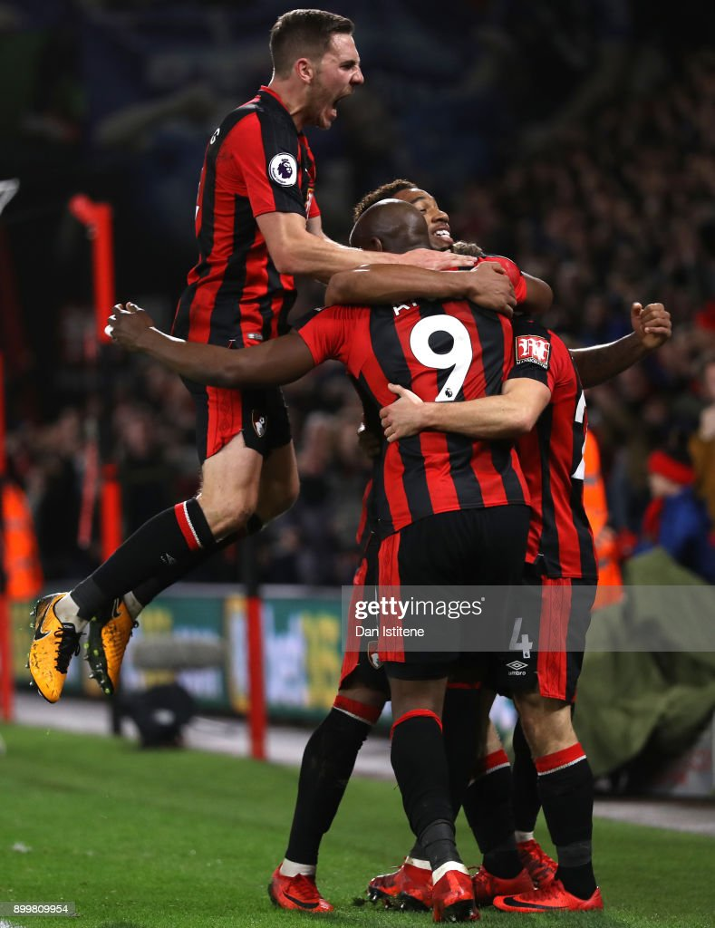 Dan Gosling of AFC Bournemouth (left) celebrates his team's second goal with scorer Ryan Fraser (blocked) during the Premier League match between AFC Bournemouth and Everton at Vitality Stadium on December 30, 2017 in Bournemouth, England.