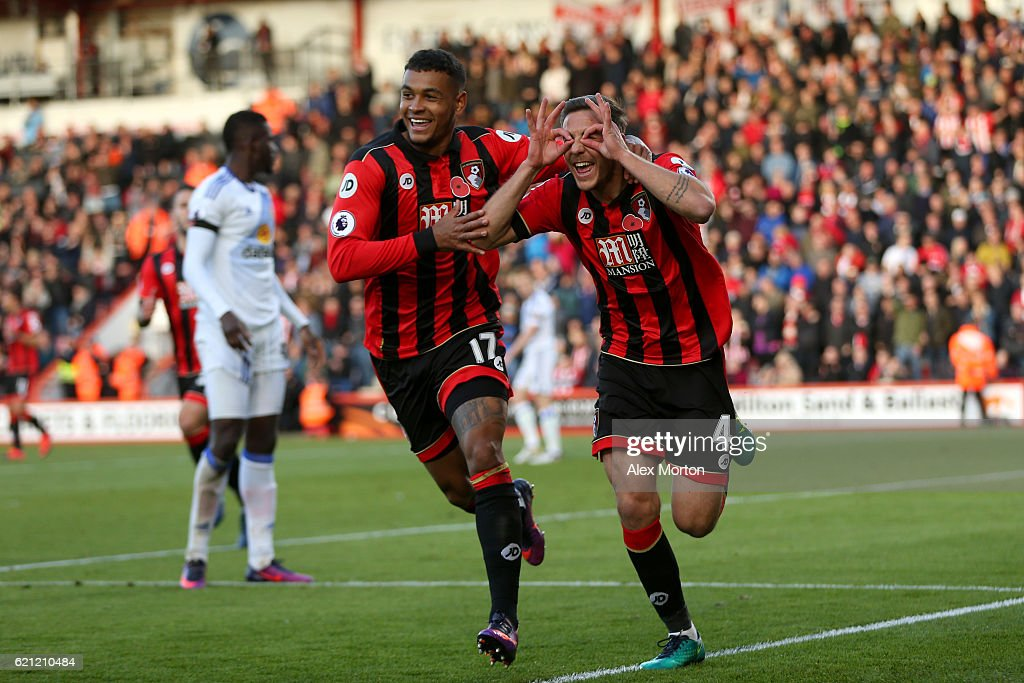 Dan Gosling of AFC Bournemouth (R) celebrates scoring his sides first goal with his team mate Joshua King of AFC Bournemouth (L) during the Premier League match between AFC Bournemouth and Sunderland at Vitality Stadium on November 5, 2016 in Bournemouth, England.