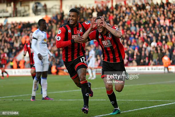 Dan Gosling of AFC Bournemouth celebrates scoring his sides first goal with his team mate Joshua King of AFC Bournemouth during the Premier League...