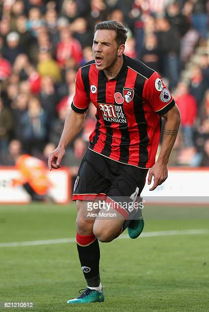 Dan Gosling of AFC Bournemouth celebrates scoring his sides first goal during the Premier League match between AFC Bournemouth and Sunderland at...