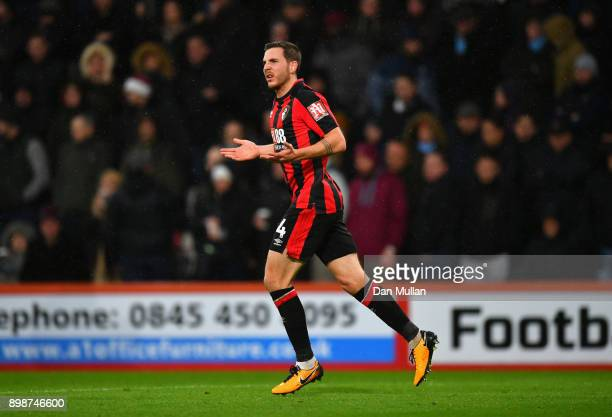 Dan Gosling of AFC Bournemouth celebrates scoring his sides first goal during the Premier League match between AFC Bournemouth and West Ham United at...