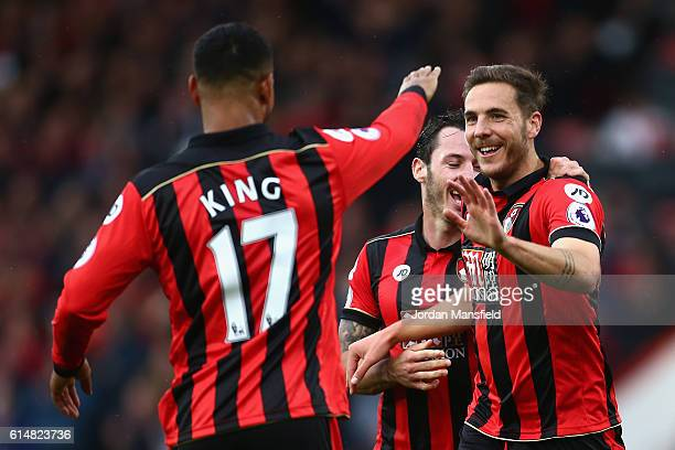 Dan Gosling of AFC Bournemouth celebrates scoring his sides sixth goal with his team mates during the Premier League match between AFC Bournemouth...