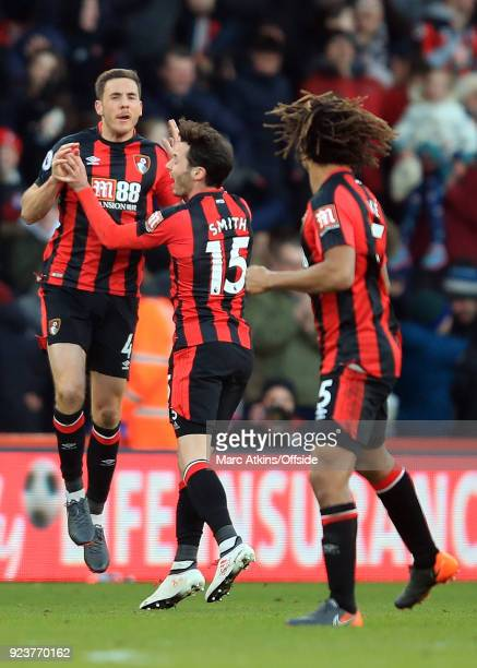 Dan Gosling of AFC Bournemouth celebrates scoring their 2nd goal with Adam Smith and Nathan Ake during the Premier League match between AFC...