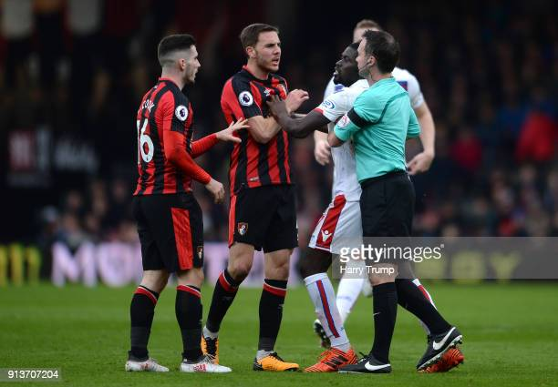 Dan Gosling of AFC Bournemouth clashes with Bojan Krkic of Stoke City during the Premier League match between AFC Bournemouth and Stoke City at...