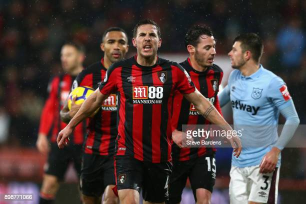 Dan Gosling of AFC Bournemouth reacts after their third goal at first is shown as offside during the Premier League match between AFC Bournemouth and...