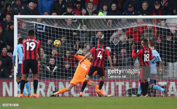 Dan Gosling of AFC Bournemouth scores his sides second goal during the Premier League match between AFC Bournemouth and Newcastle United at Vitality...