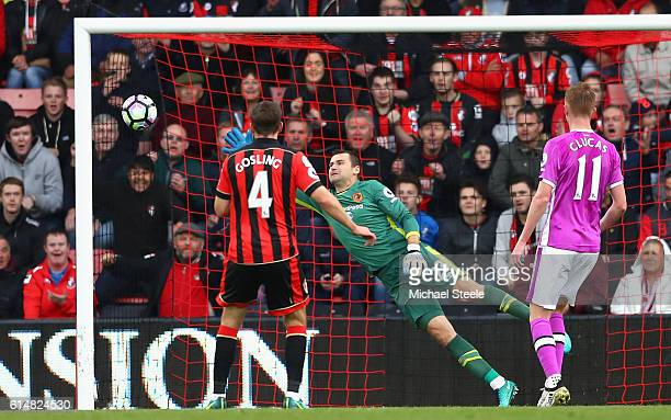 Dan Gosling of AFC Bournemouth scores his sides sixth goal during the Premier League match between AFC Bournemouth and Hull City at Vitality Stadium...