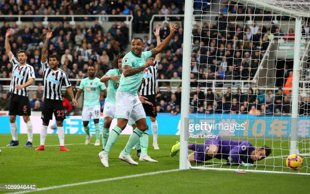 Dan Gosling of AFC Bournemouth scores his team's second goal which is ruled offside and disallowed during the Premier League match between Newcastle...