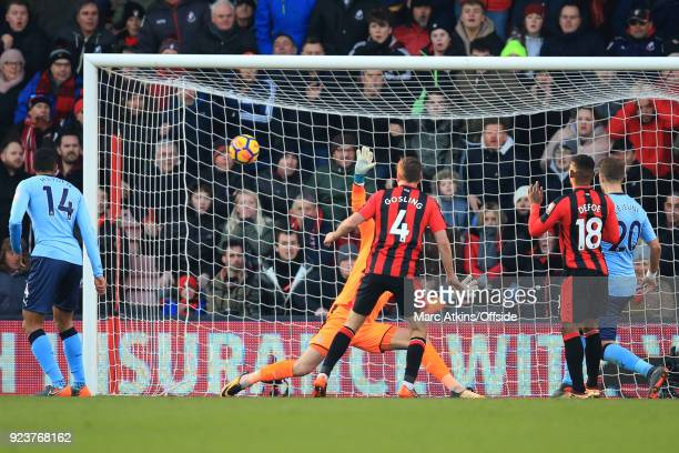Dan Gosling of AFC Bournemouth scores their 2nd goal during the Premier League match between AFC Bournemouth and Newcastle United at Vitality Stadium...