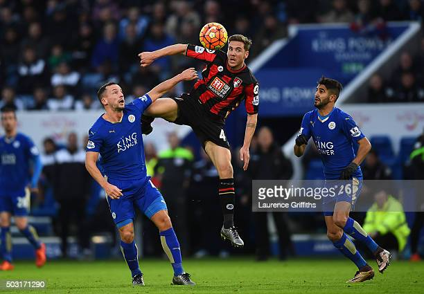Dan Gosling of Bournemouth and Danny Drinkwater of Leicester City compete for the ball during the Barclays Premier League match between Leicester...