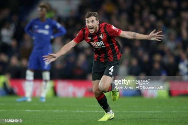Dan Gosling of Bournemouth celebrates after he thinks VAR has awarded his winning goal but is officially confirmed moments later during the Premier...