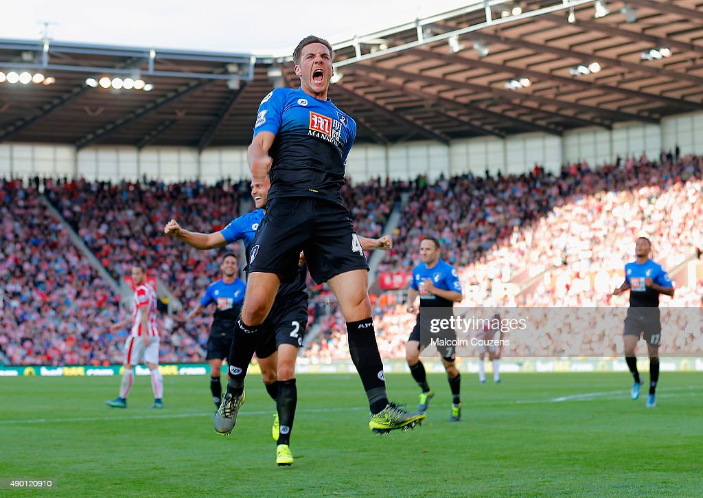 Dan Gosling of Bournemouth celebrates scoring his team's first goal during the Barclays Premier League match between Stoke City and A.F.C. Bournemouth at Britannia Stadium on September 26, 2015 in Stoke on Trent, United Kingdom.