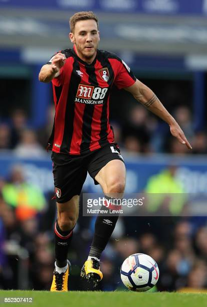 Dan Gosling of Bournemouth in action during the Premier League match between Everton and AFC Bournemouth at Goodison Park on September 23 2017 in...
