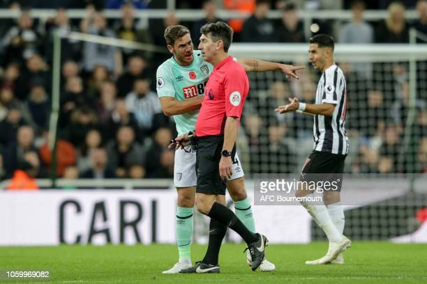 Dan Gosling of Bournemouth is not happy with referee Lee Probert during the Premier League match between Newcastle United and AFC Bournemouth at St...