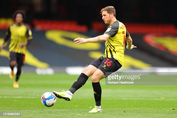 Dan Gosling of Watford in action during the Sky Bet Championship match between Watford and Swansea City at Vicarage Road on May 08, 2021 in Watford,...