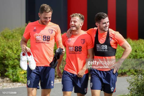 Dan Gosling, Ryan Fraser and Lewis Cook of Bournemouth during pre-season training at Vitality Stadium on August 7, 2018 in Bournemouth, England.