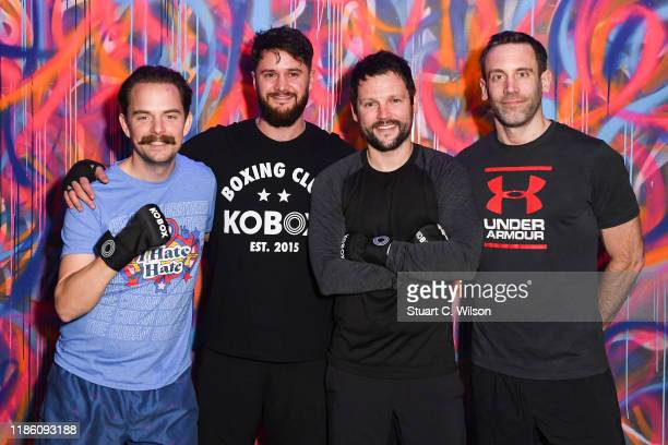 Dan Gray Kris Pace Gordan Smart and Paddy Kelly takes part in a charity KOBOX class at KOBOX Marylebone raising funds for Rainbow Railroad a charity...
