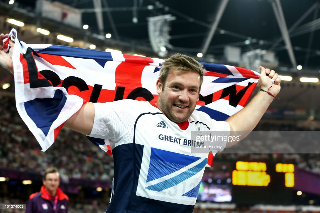 Dan Greaves of Great Britain celebrates winning silver in the Men's Discus Throw - F44 Final on day 8 of the London 2012 Paralympic Games at Olympic Stadium on September 6, 2012 in London, England.