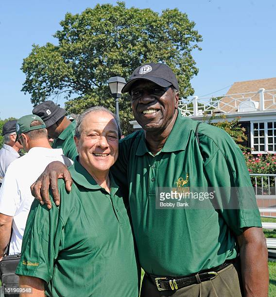 Dan Grimaldi and Meadowlark Lemon attends the Joe NamathMarch of Dimes Celebrity Golf Classic at the Bethpage State Park Golf Course on September 13...