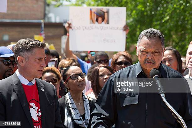 Dan Gross President of the Brady Campaign to Prevent Gun Violence and Jesse Jackson Sr attend the Stop Bad Apple Gun Dealers Protest at Chuck's Gun...