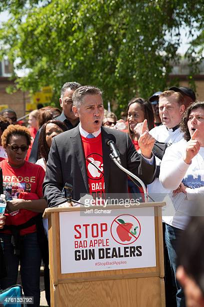Dan Gross President of the Brady Campaign to Prevent Gun Violence speaks at the Stop Bad Apple Gun Dealers Protest at Chuck's Gun Shop on June 6 2015...