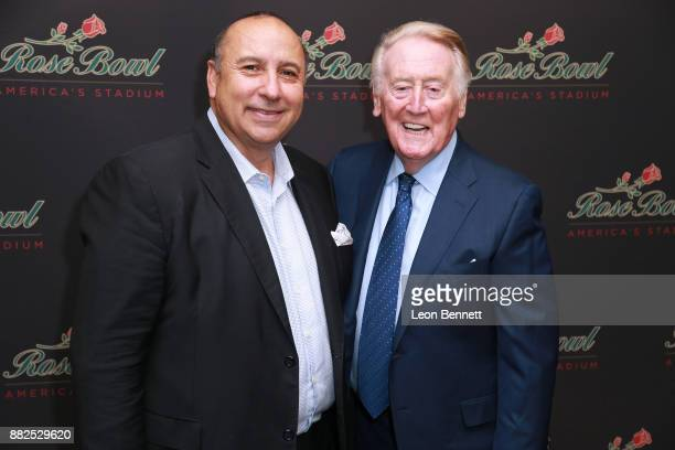 Dan Guerrero UCLA Director of Athletics and sports broadcaster Vin Scully attend as the Rose Bowl Legacy Foundation hosts the dedication of the...